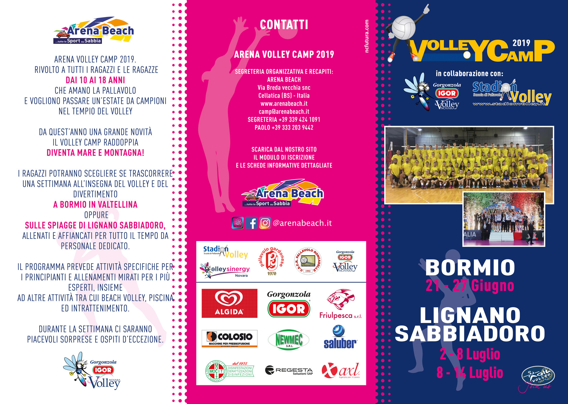 arena volley camp 2019 flyer fronte